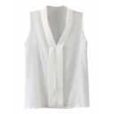 White Plain V-Neck Sleeveless Blouse