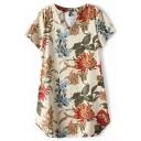 Beige Short Sleeve V-Neck Blossom Print Vintage Style Dress