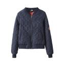 Plaid Seam Stand-Up Collar Raglan Sleeve Diamond Sign Embroidered Jacket