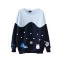 Loose Round Neck Hill and Snowflake Print Long Sleeve Sweatshirt