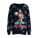 Round Neck Cute Deer and Floral Print Long Sleeve Sweatshirt