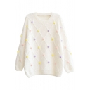 Embellished Colorful Ball Round Neck Long Sleeve Mohair Sweater