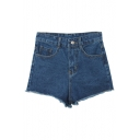 Raw Edge Blue Plain Zipper Flt Shorts with High Rise