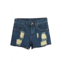 Loose Distressed Fashionable Denim Shorts