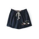 Dark Blue Rabbit&Carrot Embroidered Shorts