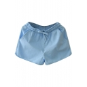 Sky Blue Drawstring Waist Hotpants