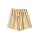 Beige Drawstring Waist Casual Loose Shorts