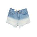 Ombre Blue Distress Hem Denim Hotpants