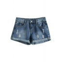 Blue Slim Basic Distressed Low Waist Denim Shorts