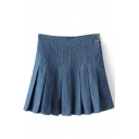 Blue Side Zipper Pleated Denim Mini Skirt
