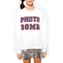 White Long Sleeve Photo Bomb Print Sweatshirt
