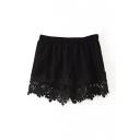 Plain Lace Flower Hem Elastic Waist Shorts