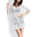 White 3/4 Sleeve V-Neck Gathered Waist Lace Sexy Cover-up