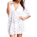 1/2 Sleeve White Lace Vintage Swimwear Cover-Up