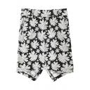 Back Hem Split White Flora Print Black Bodycon Skirt