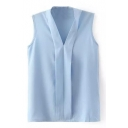 Blue Plain V-Neck Sleeveless Blouse