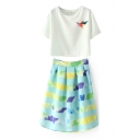 Color Block Bird White Crop T-Shirt with Stripe A-line Skirt Co-ords