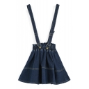 Dark Blue Elastic High Waist Mini Denim Overall Skirt