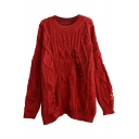 Vintage Ripped Plain Round Neck Cable Knitted Loose Sweater
