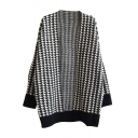 Open-front Style Houndstooth Pattern Long Sleeve Midi Cardigan