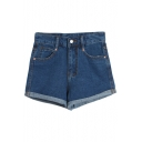 High Rise Blue Denim Plain Laid Back Shorts