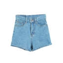 Plain High Waist Cuffed Denim Hot Shorts