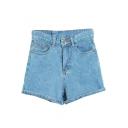 Plain High Waist Cuffed Denim Hot Shorts