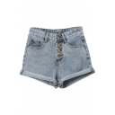 Vintage High Waist Casual Cuffed Denim Shorts