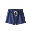 Navy Plain Drawstring Loose Shorts