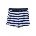 Summer Hot Striped Zip Fitted Shorts