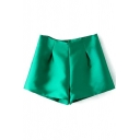 Shining Green Ruched Detail High Waist Flippy Shorts