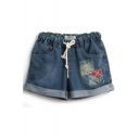 Blue Mori Girl Appliques Denim Shorts