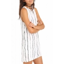 White Sleeveless Black Stripe Mini Tanks Dress