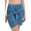 Blue Plain Bow Front Denim Skirt