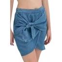 Blue Plain Bow Front Denim Skirt