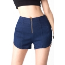 High Waist Zippered Skinny Fitted Denim Shorts