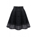 Plain Plaid High Waist Mesh Insert Midi Skirt