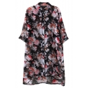 Half Sleeve Lapel High Low Hem Floral Print Loose Shirt