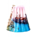 City Landscape Print High Waist Midi Skirt