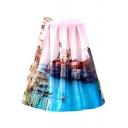 City Landscape Print High Waist Midi Skirt