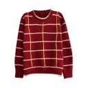 Plaid&Stripe Pattern Contrast Trim Round Neck Long Sleeve Sweater
