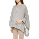 Gray Bell Sleeve Hooded Drawstring Pockets Laid Back Top