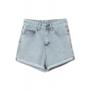 Vintage Blue High Waist Cuffed Denim Shorts