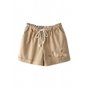 Carrot and Rabbit Embroidered Elastic Waist Cotton Shorts