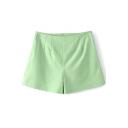Green High Waist Fashion Shorts