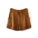Knitting Drawstring Waist Shorts with Pockets