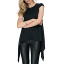 Black Round Neck Cap Sleeve Asymmetric Hem Blouse