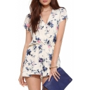 Cream Short Sleeve V-Neck Blue Flower Rompers