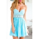 Light Blue Sweetheart Neck Lace Cutout Waist Dress