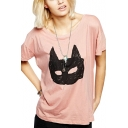 Pink Loose Batman Print Short Sleeve Tee